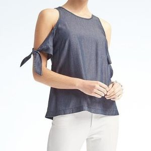 Banana Republic Chambray Cold Shoulder Top